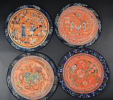 Grouping of 4 Chinese Silk Embroideries Size : 15