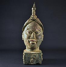 Large Bronze African Head Size : 24