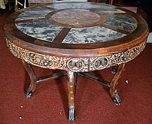 Antique Chinese Carved Wood Table with MOP Inlay