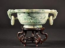 Chinese Carved Jade Bowl on Wood Stand Size : Jade
