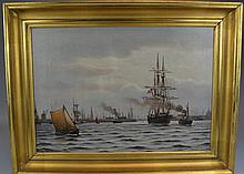 JOHAN NEUMAN (Danish, 1860-1940)Copenhagen Harbour (1921) Oil on canvasSigned and dated lower leftSize: 23 1/4