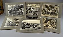 (HISTORY, JAPAN) Six Silver Gelatin Photographs Comprising various views of Japanese life, including: Preparing Tea, Pan Firing; Weaving; Reeling Silk; Going to Market; Feeding Silk Worms; and Separating Rice from the Straw, each on a backing mount