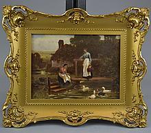 CONTINENTAL SCHOOL (19th Century)Two Ladies Feeding Ducks at a PondOil on boardSize: 11 3/4
