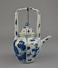 An Antique Chinese Blue & White Porcelain Tea Pot Of tapering form, decorated throughout with auspicious symbols and landscape scenes, and surmounted by the applied porcelain handle.Size: 7 1/4