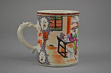 A Chinese Export Porcelain Mug The Rose Mandarin porcelain mug depicting a court scene between diaperwork borders.Size: 3 4/5