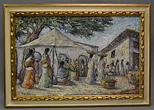 ALFRED RAMOS MARTINEZ (Mexican, 1871-1946)Untitled (Village Market with Women)Oil on canvasSigned lower leftPrevious conservation undergone, including re-lining, new stretcher and frame. Accompanied by appraisal certificate.Size: 20