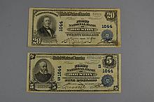 Two First National Bank of Houston Currency Notes Comprising two 1906 blue-seal notes, one example of $5 denomination and one of $20 denomination.