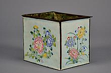 Chinese Enamel Planter and Liner 4 3/8