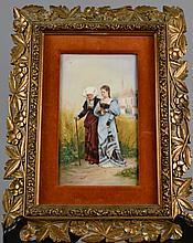 Antique Porcelain Plaque in Giltwood Frame 9 1/2