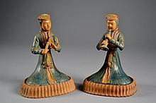 Pr of Chinese Try Glazed Ladies on Wooden Stands 6