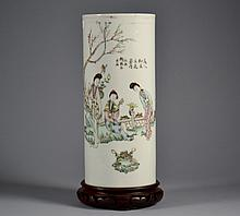 Chinese Republic Brush Pot 11 1/4
