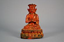 Chinese Polychromed Bronze Buddha 8 1/2