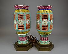 Pair of Antique  Wedding Lantern Lamps A very nice pair of chinese  antique famile rose porcelain wedding laterns mounted and turned into eletric lamps.14