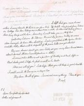 A RARE HAND WRITTEN LETTER FROM MEYER LANSkY (1902-1983) TO HIS DAUGHTER AND SON IN LAW FROM ISRAEL
