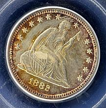1882 Liberty Seated Quarter Dollar PCGS MS64 Toned