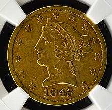 1846 Lg. Date G$5 Liberty Head Half Eagle NGC VF30