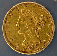 1848-C $5 Liberty Head Gold Half Eagle ANACS EF 45