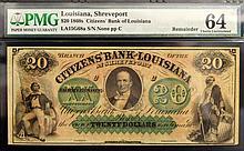 1860s $20 Citizens Bank LA Shreveport PMG CU 64