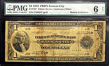 1918 $1 FRB of Kansas City, MO Lg Note PMG G 6 NET