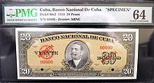 1958 20 Pesos Cuba Banco Nacional Specimen PMGCU64