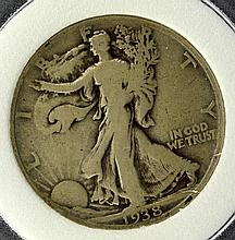 1938-D Liberty Walking Half Dollar PCC VG 8