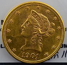 1901 $10 Liberty Head Gold Eagle BU 61 Rev. 62+