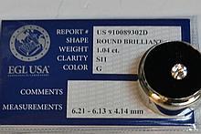 Loose 1.04ct Round Diamond G-SI1 EGL