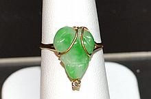18kyg Jade Diamond Frog Ring