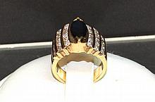 14kyg Blue Sapphire & Diamond Ring