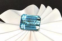 Loose 20.80ct Emerald Cut Blue Topaz