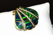 14kyg Opal & Diamond Scallop Slide