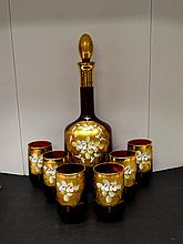 Hand Painted Murano decanter and 6 glasses