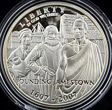 2007 Jamestown Silver Proof Commem. Dollar w/B&P