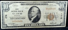 1929 $10 First National Bank in St. Louis, MO VG