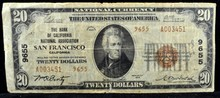 1929 $20 Bank of CA National Assoc. San Fran. VG