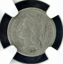 1872 Three-Cent Nickel NGC VF 25