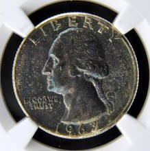 1963 Type B Rev Washington Quarter Dollar NGC MS65