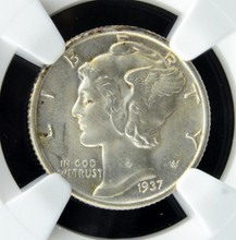 1937 Mercury Dime NGC MS 66 FB