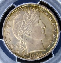 1906 D Barber Half Dollar PCGS MS 66 CAC - Beautiful Toning