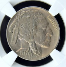 1937 D 3 Legs Buffalo Nickel NGC MS 63