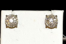 18kwg Pave Diamond Earrings 1.20ctw