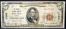 1929 $5 Mutual National Bank of Chicago, IL Fine
