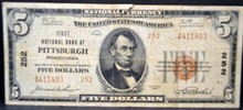 1929 $5 First National Bank at Pittsburgh, PA Fine