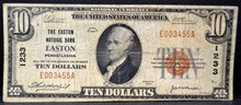 1929 $10 The Easton National Bank PA VG