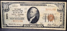 1929 $10 Chase National Bank of New York, NY Fine