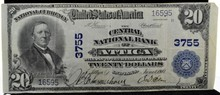 1907 $20 The Central National Bank of Attica IN VF