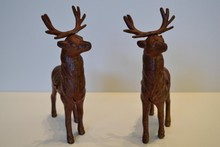 Pair of Arcade Cast Iron Still Banks, Reindeer