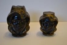 Pair of Cast Iron Still Banks, Two Faced Black Boy