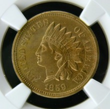 1859 Indian Head Cent NGC AU 53