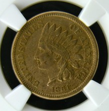 1861 Indian Head Cent NGC XF 45